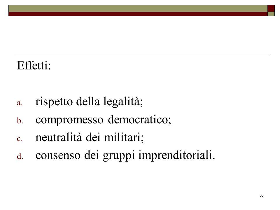 36 Effetti: a.rispetto della legalità; b. compromesso democratico; c.