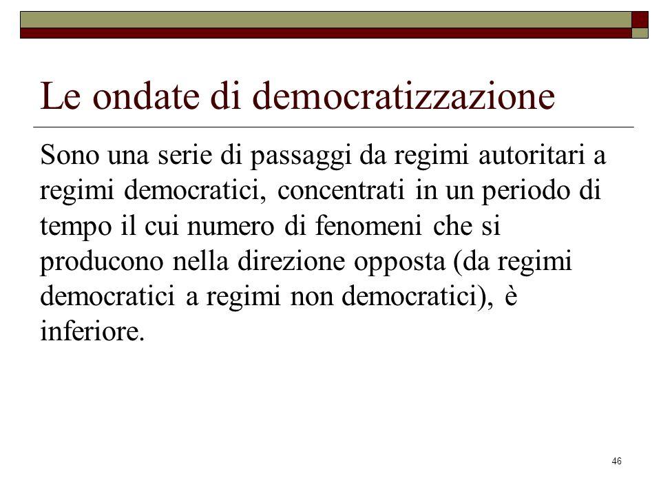 46 Le ondate di democratizzazione Sono una serie di passaggi da regimi autoritari a regimi democratici, concentrati in un periodo di tempo il cui numero di fenomeni che si producono nella direzione opposta (da regimi democratici a regimi non democratici), è inferiore.