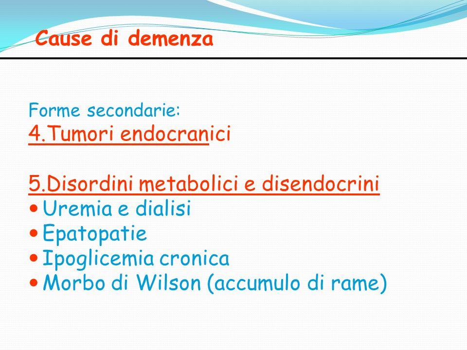 Cause di demenza Forme secondarie: 4.Tumori endocranici 5.Disordini metabolici e disendocrini Uremia e dialisi Epatopatie Ipoglicemia cronica Morbo di