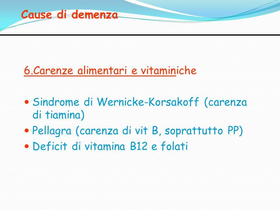 Cause di demenza 6.Carenze alimentari e vitaminiche Sindrome di Wernicke-Korsakoff (carenza di tiamina) Pellagra (carenza di vit B, soprattutto PP) De