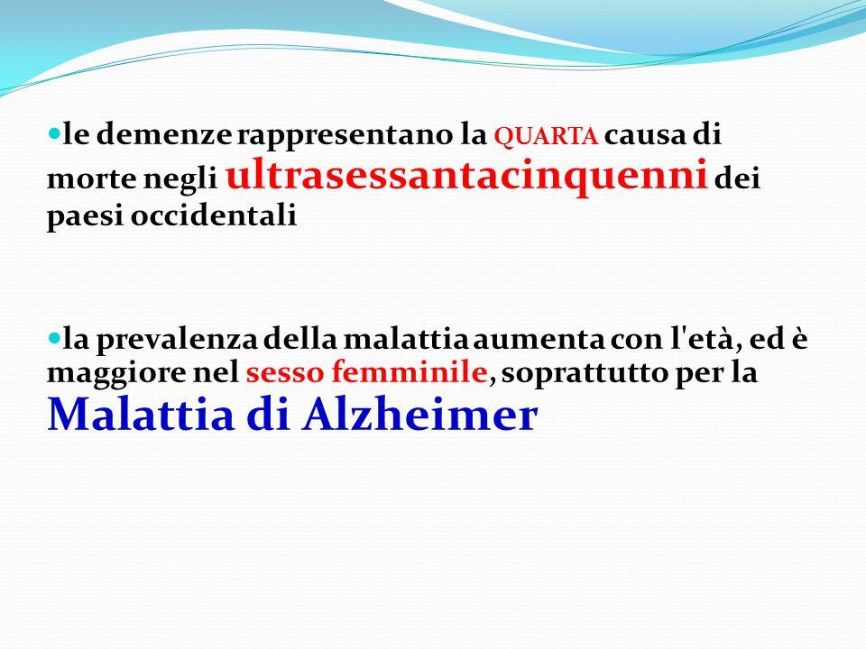 le demenze rappresentano la QUARTA causa di morte negli ultrasessantacinquenni dei paesi occidentali la prevalenza della malattia aumenta con l'età, e