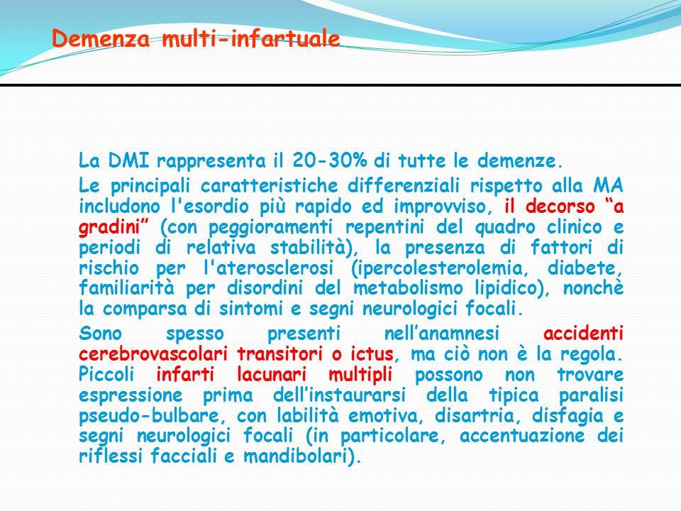 Demenza multi-infartuale La DMI rappresenta il 20-30% di tutte le demenze. Le principali caratteristiche differenziali rispetto alla MA includono l'es