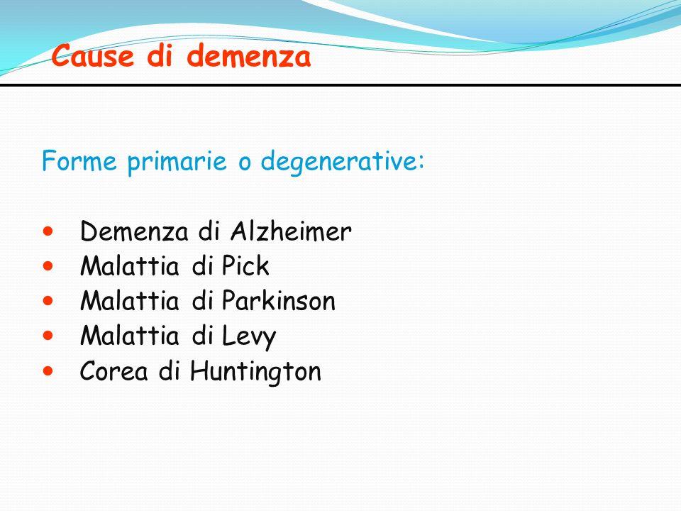 Cause di demenza Forme primarie o degenerative: Demenza di Alzheimer Malattia di Pick Malattia di Parkinson Malattia di Levy Corea di Huntington