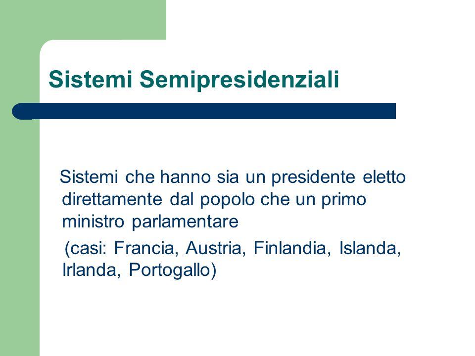 Sistemi Semipresidenziali Sistemi che hanno sia un presidente eletto direttamente dal popolo che un primo ministro parlamentare (casi: Francia, Austri