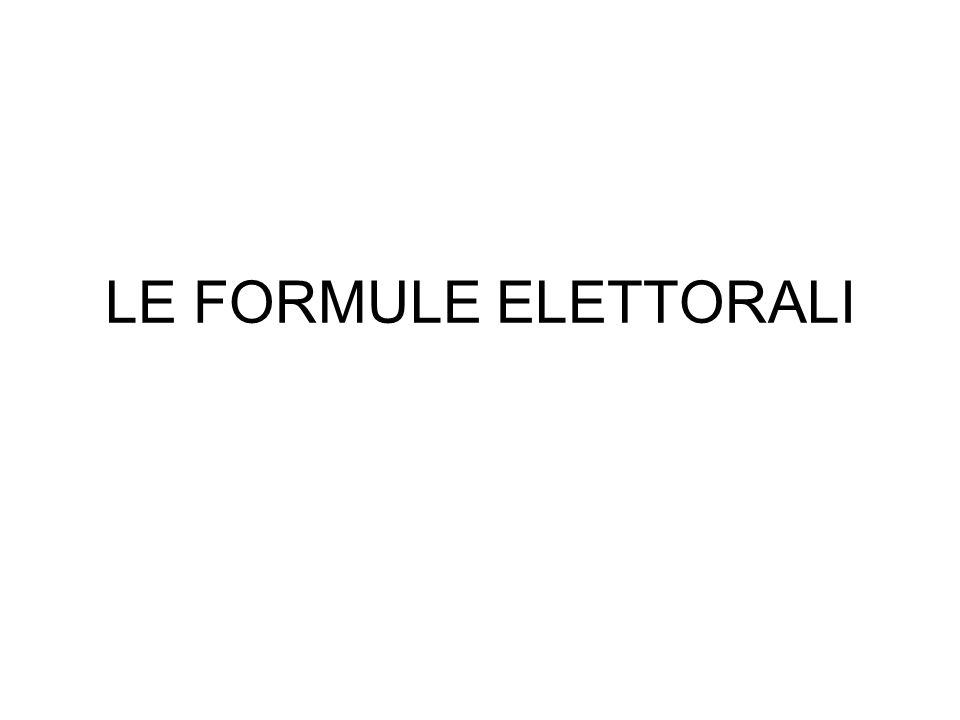 LE FORMULE ELETTORALI