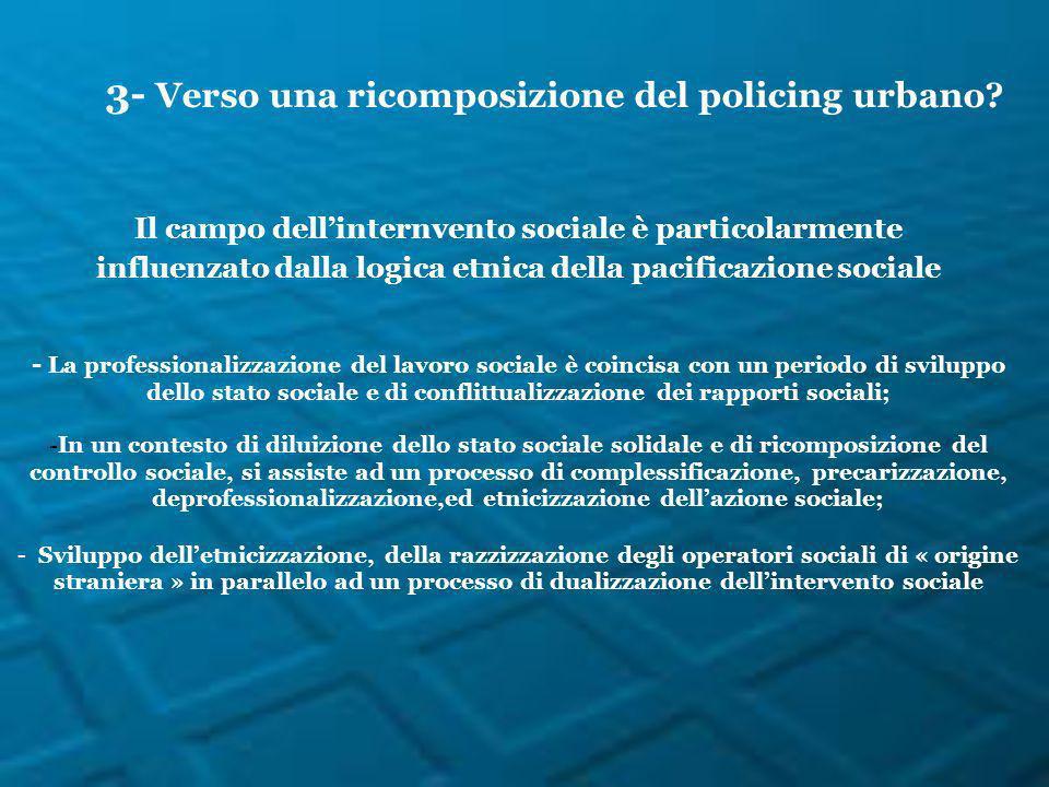 Il campo dellinternvento sociale è particolarmente influenzato dalla logica etnica della pacificazione sociale - La professionalizzazione del lavoro s