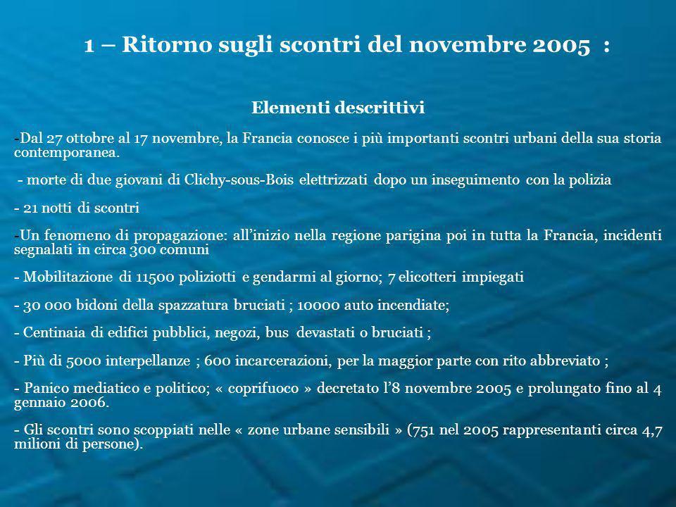 1 – Ritorno sugli scontri del novembre 2005 : Elementi descrittivi -Dal 27 ottobre al 17 novembre, la Francia conosce i più importanti scontri urbani della sua storia contemporanea.