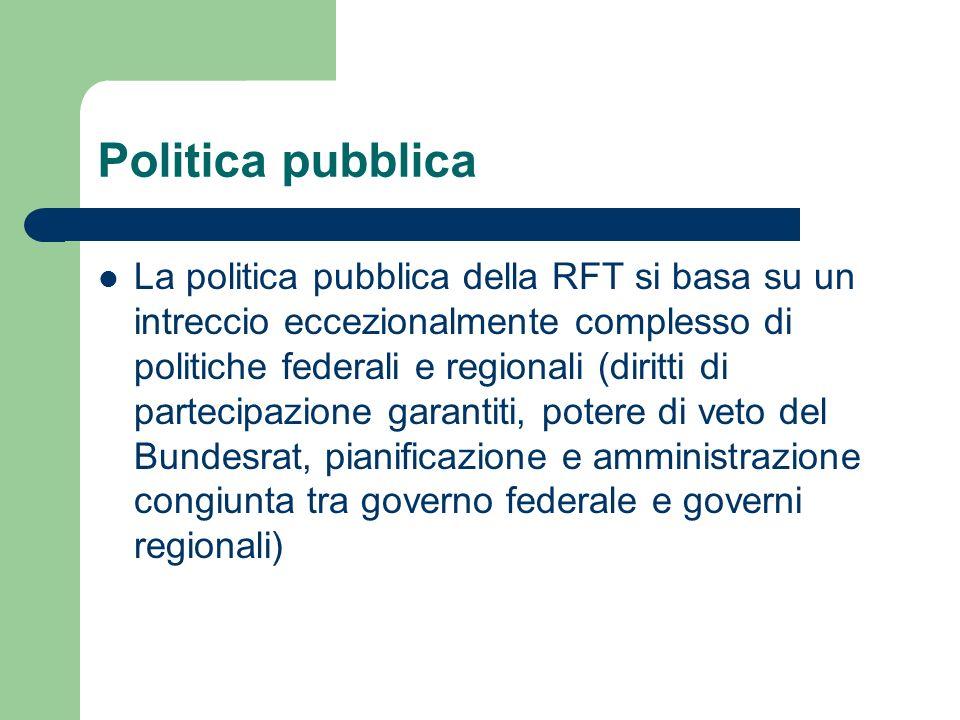 Politica pubblica La politica pubblica della RFT si basa su un intreccio eccezionalmente complesso di politiche federali e regionali (diritti di parte