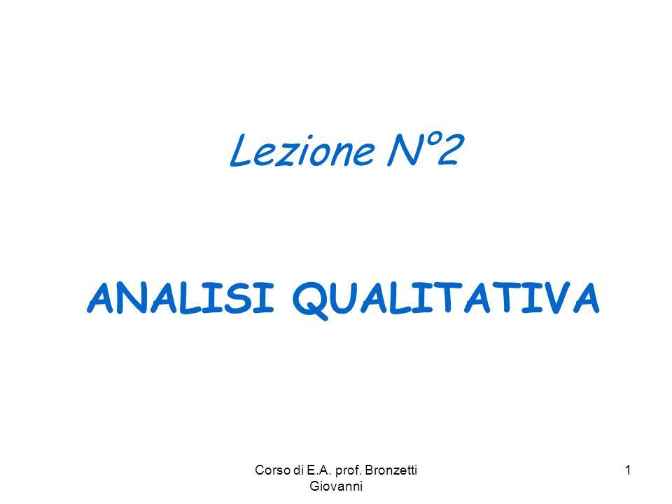 Corso di E.A. prof. Bronzetti Giovanni 1 Lezione N°2 ANALISI QUALITATIVA