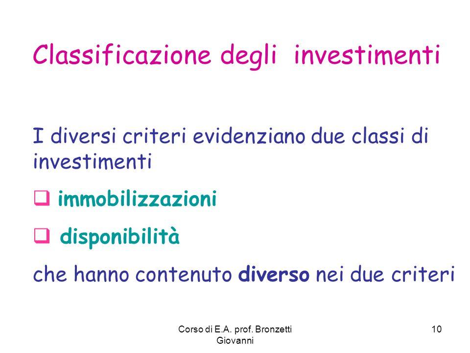 Corso di E.A. prof. Bronzetti Giovanni 10 Classificazione degli investimenti I diversi criteri evidenziano due classi di investimenti immobilizzazioni