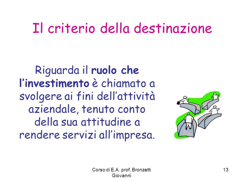Corso di E.A. prof. Bronzetti Giovanni 13 Il criterio della destinazione Riguarda il ruolo che linvestimento è chiamato a svolgere ai fini dellattivit