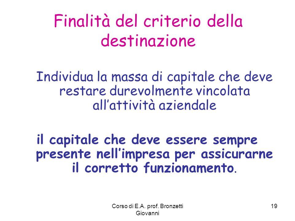 Corso di E.A. prof. Bronzetti Giovanni 19 Individua la massa di capitale che deve restare durevolmente vincolata allattività aziendale il capitale che