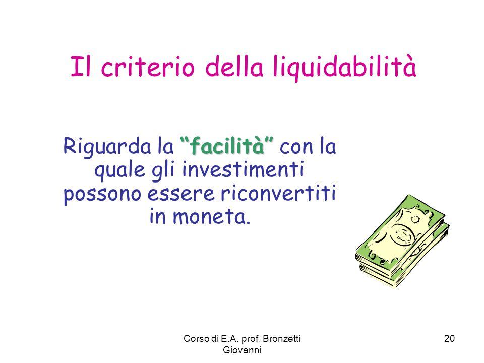 Corso di E.A. prof. Bronzetti Giovanni 20 facilità Riguarda la facilità con la quale gli investimenti possono essere riconvertiti in moneta. Il criter