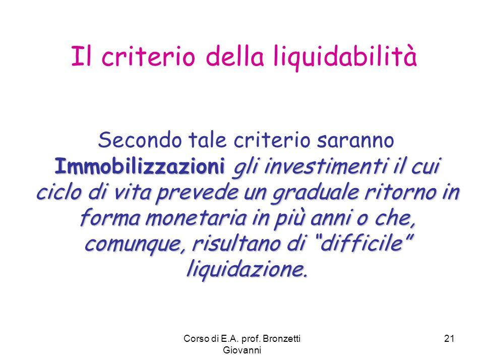 Corso di E.A. prof. Bronzetti Giovanni 21 Il criterio della liquidabilità Immobilizzazioni gli investimenti il cui ciclo di vita prevede un graduale r