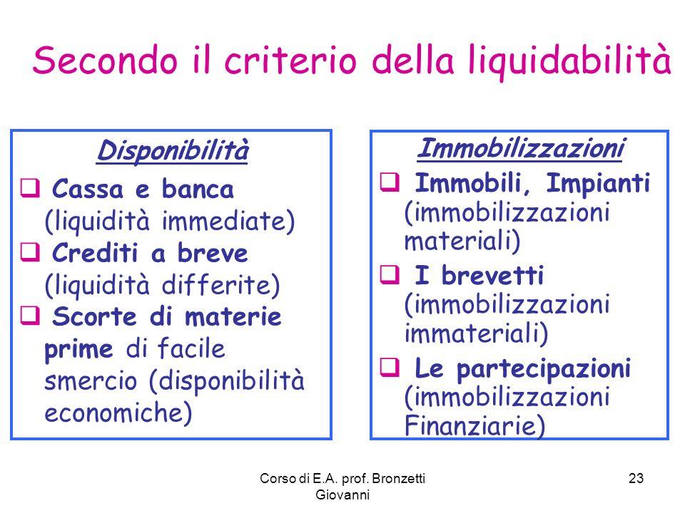 Corso di E.A. prof. Bronzetti Giovanni 23 Disponibilità Cassa e banca (liquidità immediate) Crediti a breve (liquidità differite) Scorte di materie pr