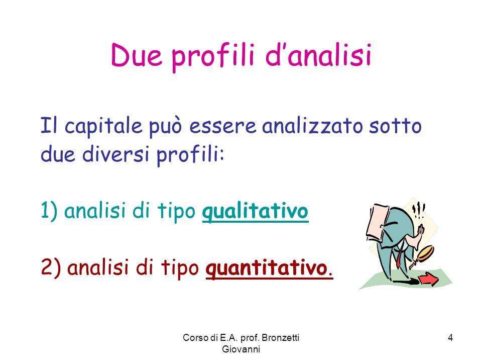 Corso di E.A. prof. Bronzetti Giovanni 4 Due profili danalisi Il capitale può essere analizzato sotto due diversi profili: 1) analisi di tipo qualitat