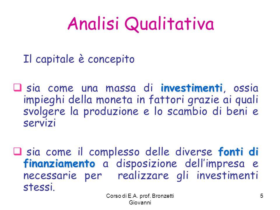 Corso di E.A. prof. Bronzetti Giovanni 5 Analisi Qualitativa Il capitale è concepito investimenti sia come una massa di investimenti, ossia impieghi d