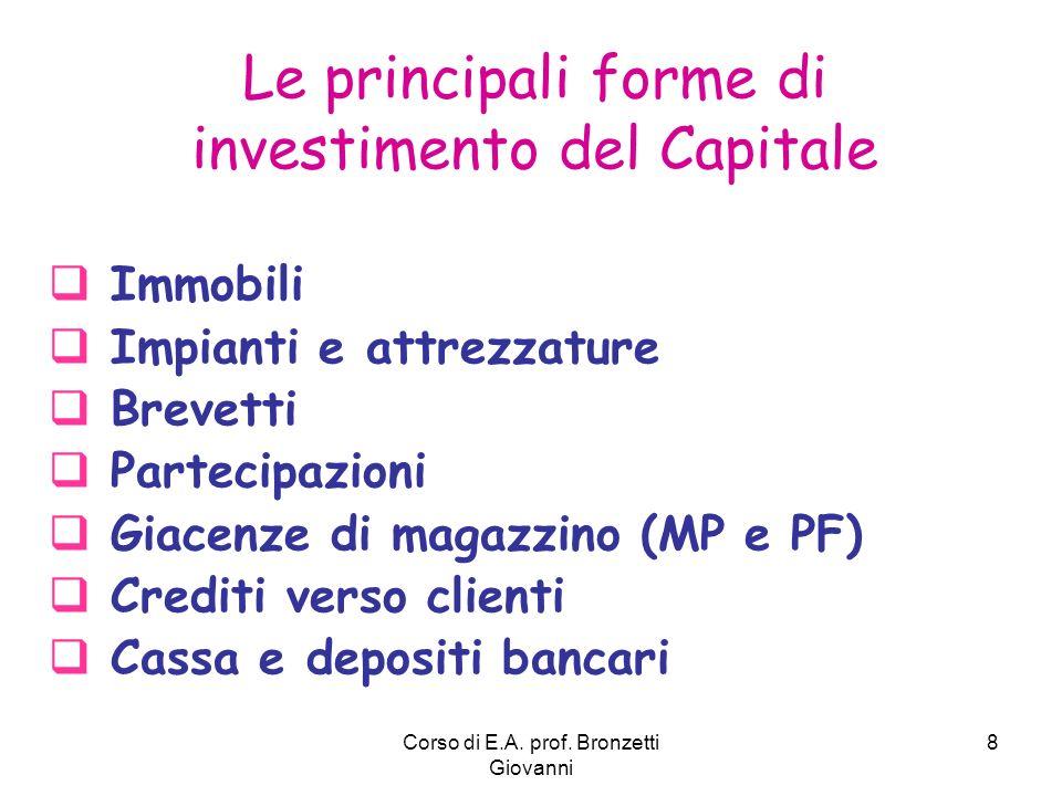 Corso di E.A. prof. Bronzetti Giovanni 8 Le principali forme di investimento del Capitale Immobili Impianti e attrezzature Brevetti Partecipazioni Gia
