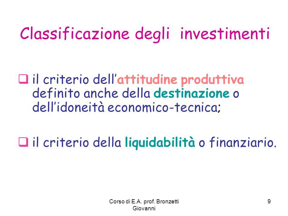 Corso di E.A. prof. Bronzetti Giovanni 9 Classificazione degli investimenti il criterio dellattitudine produttiva definito anche della destinazione o