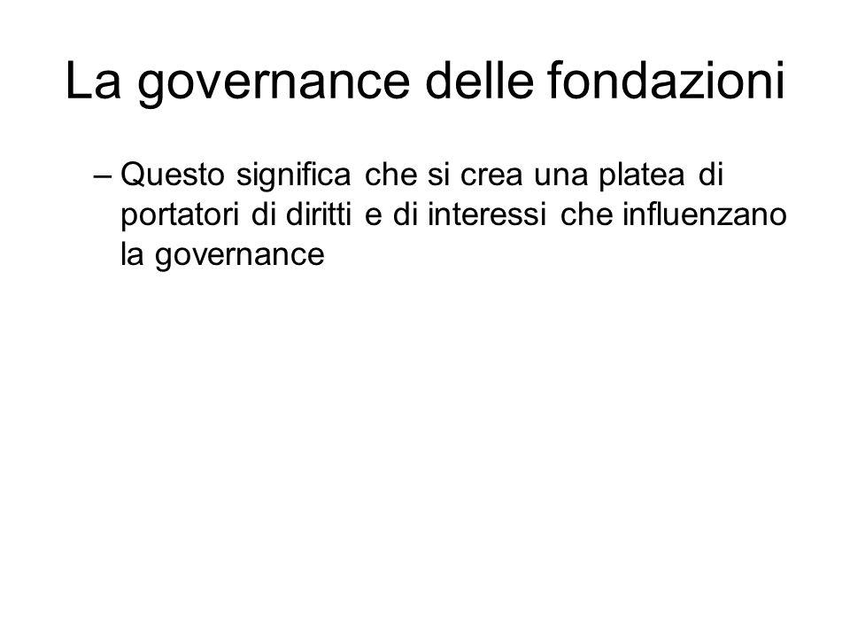 La governance delle fondazioni –Questo significa che si crea una platea di portatori di diritti e di interessi che influenzano la governance