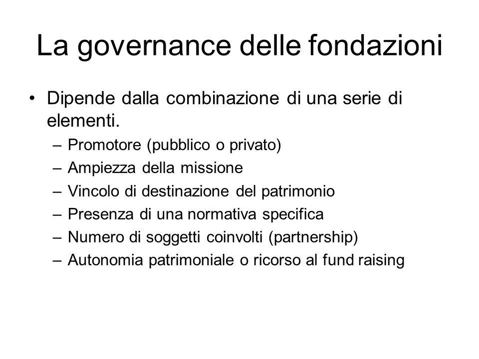 La governance delle fondazioni Dipende dalla combinazione di una serie di elementi.