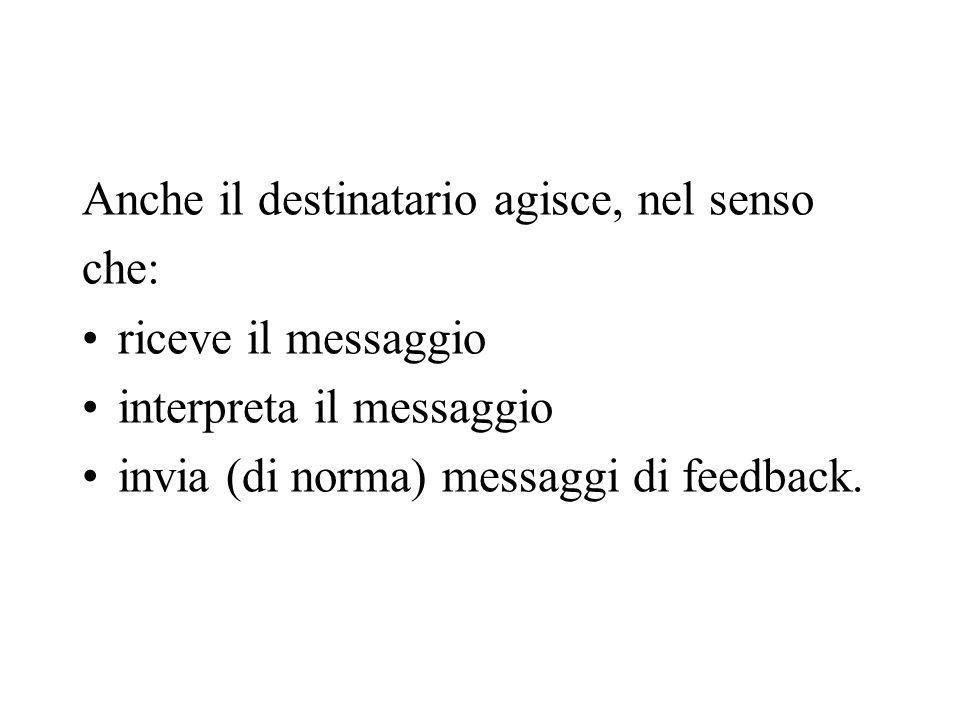 Anche il destinatario agisce, nel senso che: riceve il messaggio interpreta il messaggio invia (di norma) messaggi di feedback.