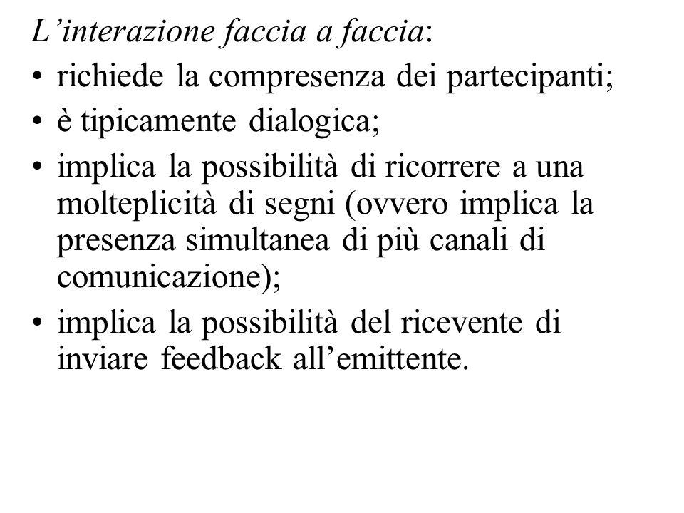 Linterazione faccia a faccia: richiede la compresenza dei partecipanti; è tipicamente dialogica; implica la possibilità di ricorrere a una molteplicit