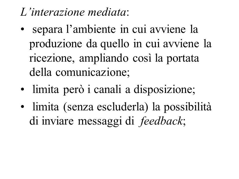 Linterazione mediata: separa lambiente in cui avviene la produzione da quello in cui avviene la ricezione, ampliando così la portata della comunicazio