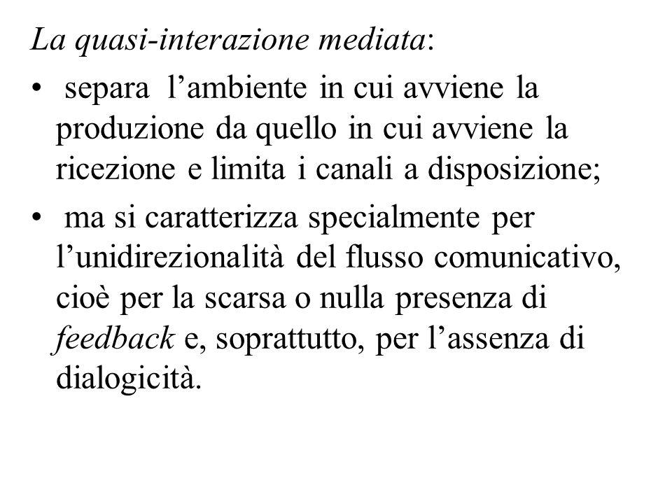La quasi-interazione mediata: separa lambiente in cui avviene la produzione da quello in cui avviene la ricezione e limita i canali a disposizione; ma