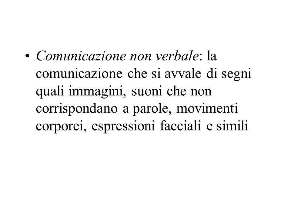 Comunicazione non verbale: la comunicazione che si avvale di segni quali immagini, suoni che non corrispondano a parole, movimenti corporei, espressio