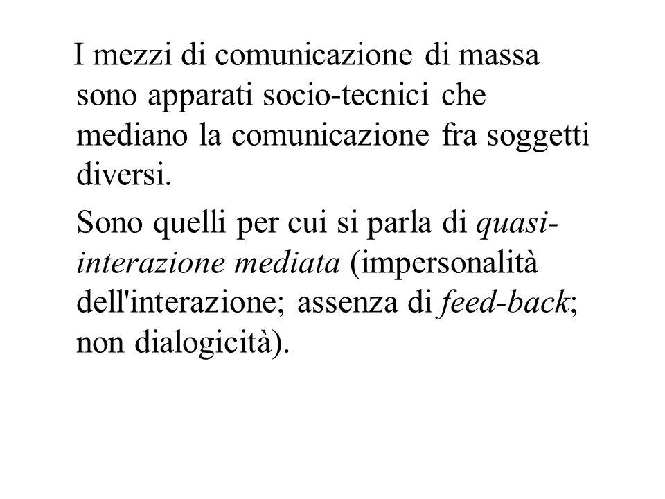 I mezzi di comunicazione di massa sono apparati socio-tecnici che mediano la comunicazione fra soggetti diversi. Sono quelli per cui si parla di quasi
