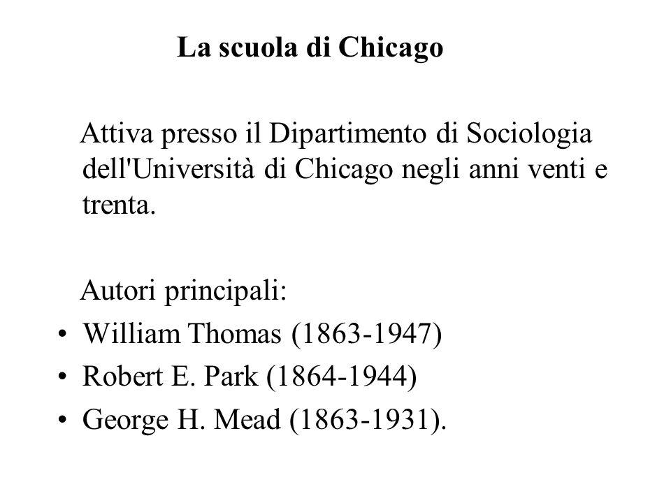 La scuola di Chicago Attiva presso il Dipartimento di Sociologia dell'Università di Chicago negli anni venti e trenta. Autori principali: William Thom