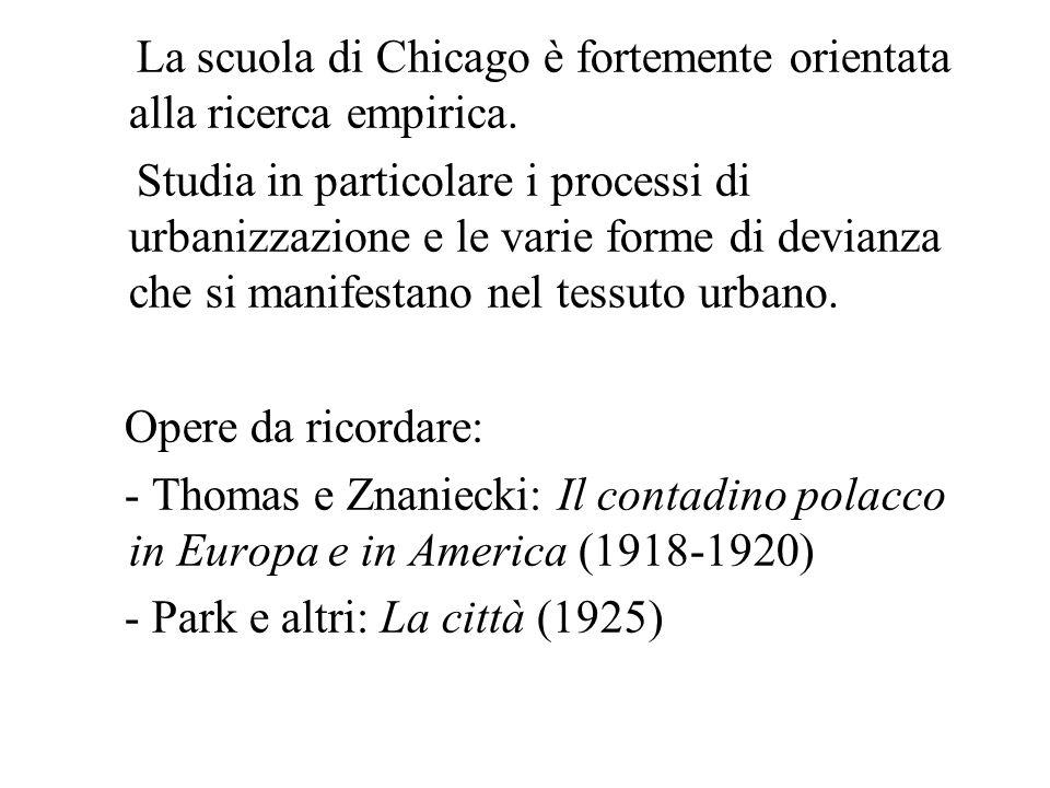 La scuola di Chicago è fortemente orientata alla ricerca empirica. Studia in particolare i processi di urbanizzazione e le varie forme di devianza che