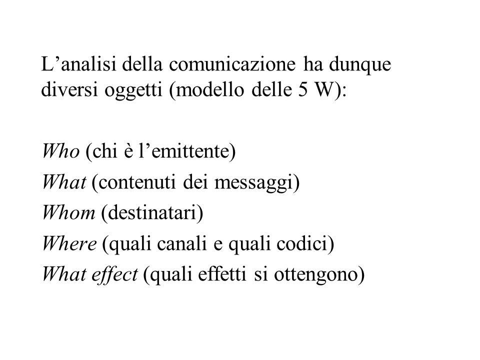 Lanalisi della comunicazione ha dunque diversi oggetti (modello delle 5 W): Who (chi è lemittente) What (contenuti dei messaggi) Whom (destinatari) Wh