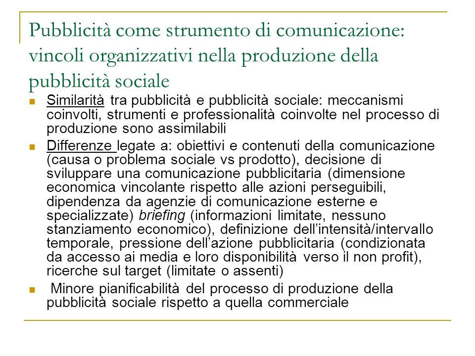 Pubblicità come strumento di comunicazione: vincoli organizzativi nella produzione della pubblicità sociale Similarità tra pubblicità e pubblicità soc