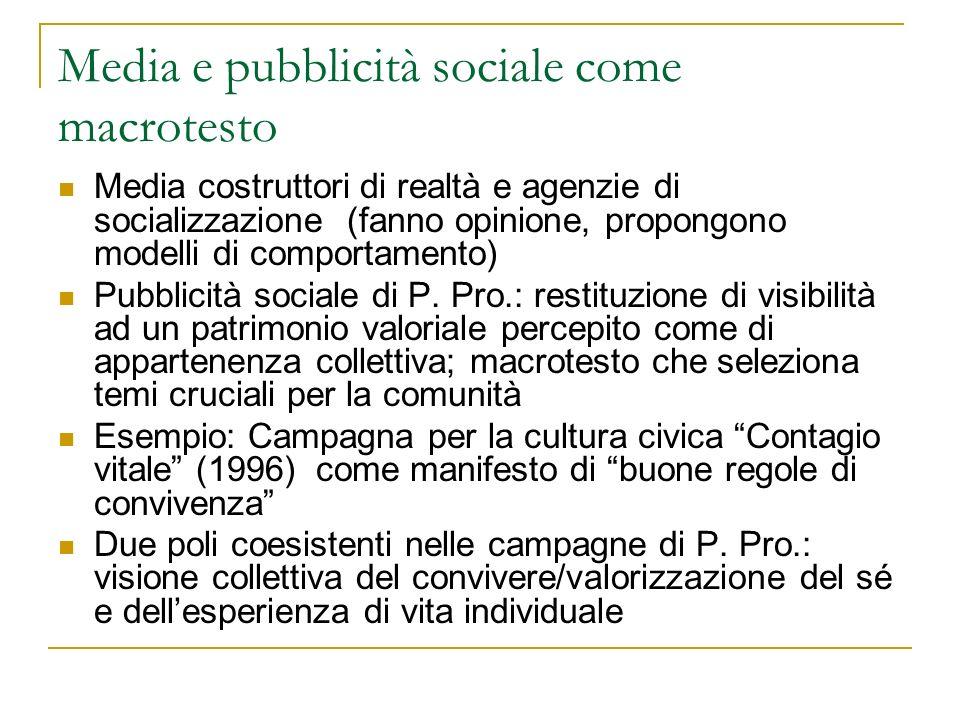 Media e pubblicità sociale come macrotesto Media costruttori di realtà e agenzie di socializzazione (fanno opinione, propongono modelli di comportamen