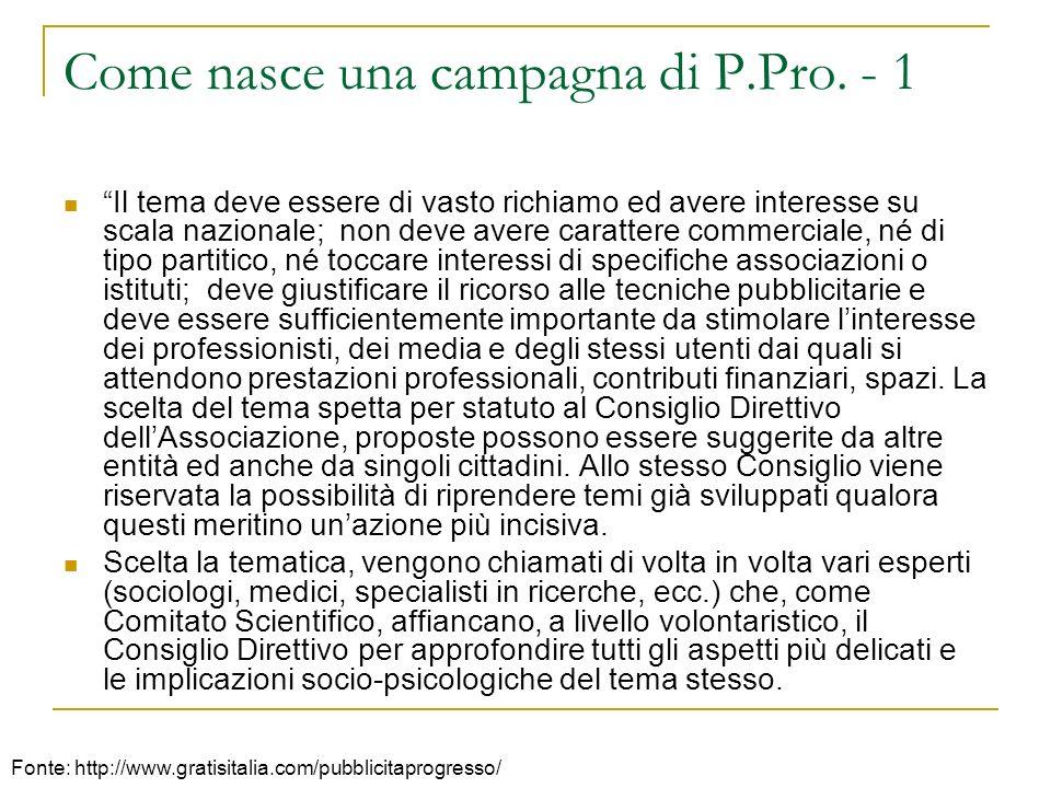 Come nasce una campagna di P.Pro. - 1 Il tema deve essere di vasto richiamo ed avere interesse su scala nazionale; non deve avere carattere commercial