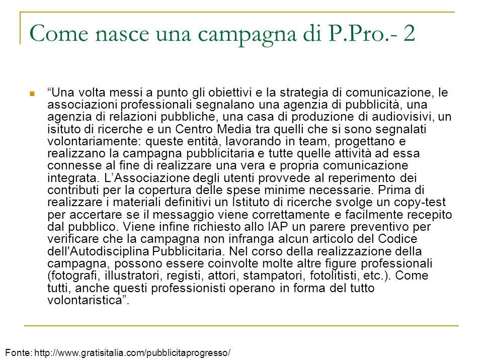 Come nasce una campagna di P.Pro.- 2 Una volta messi a punto gli obiettivi e la strategia di comunicazione, le associazioni professionali segnalano un
