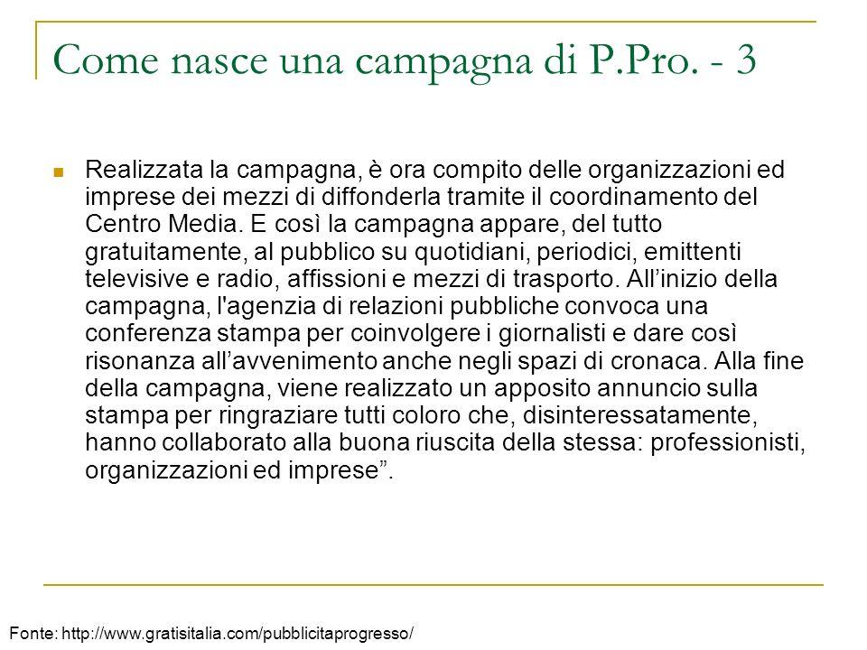 Come nasce una campagna di P.Pro. - 3 Realizzata la campagna, è ora compito delle organizzazioni ed imprese dei mezzi di diffonderla tramite il coordi
