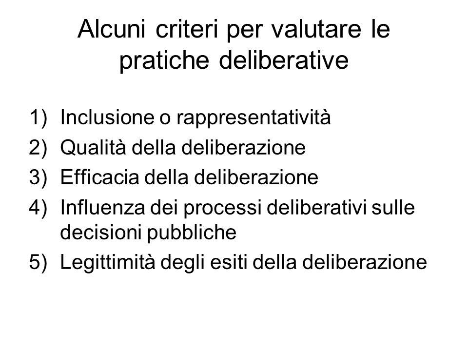 Alcuni criteri per valutare le pratiche deliberative 1)Inclusione o rappresentatività 2)Qualità della deliberazione 3)Efficacia della deliberazione 4)Influenza dei processi deliberativi sulle decisioni pubbliche 5)Legittimità degli esiti della deliberazione