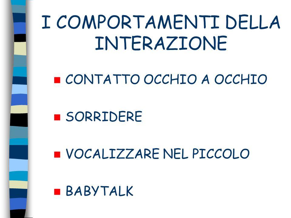 I COMPORTAMENTI DELLA INTERAZIONE CONTATTO OCCHIO A OCCHIO SORRIDERE VOCALIZZARE NEL PICCOLO BABYTALK