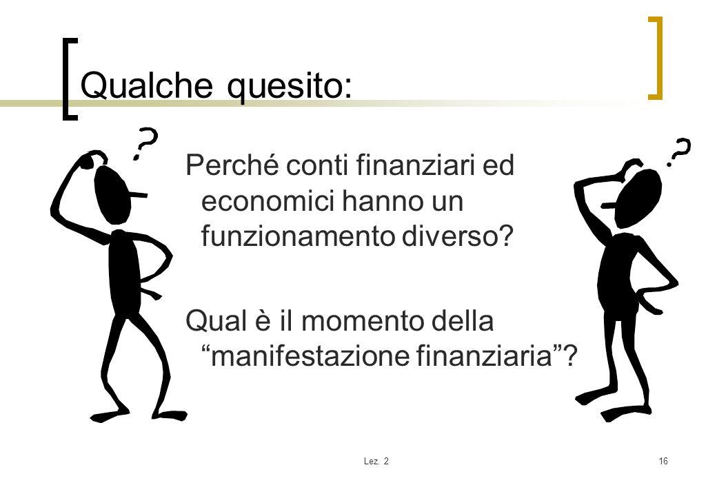Lez. 216 Qualche quesito: Perché conti finanziari ed economici hanno un funzionamento diverso? Qual è il momento della manifestazione finanziaria?