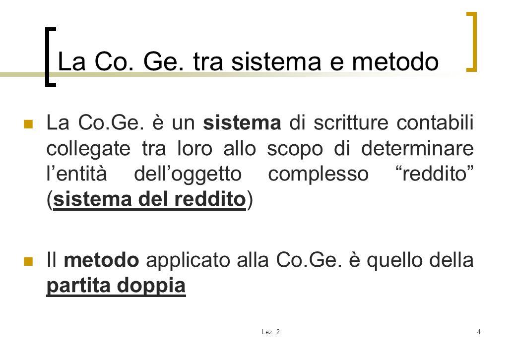 Lez. 24 La Co. Ge. tra sistema e metodo La Co.Ge. è un sistema di scritture contabili collegate tra loro allo scopo di determinare lentità delloggetto