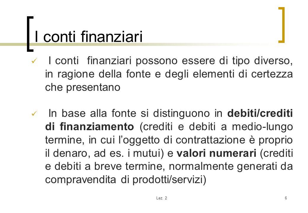 Lez. 26 I conti finanziari I conti finanziari possono essere di tipo diverso, in ragione della fonte e degli elementi di certezza che presentano In ba