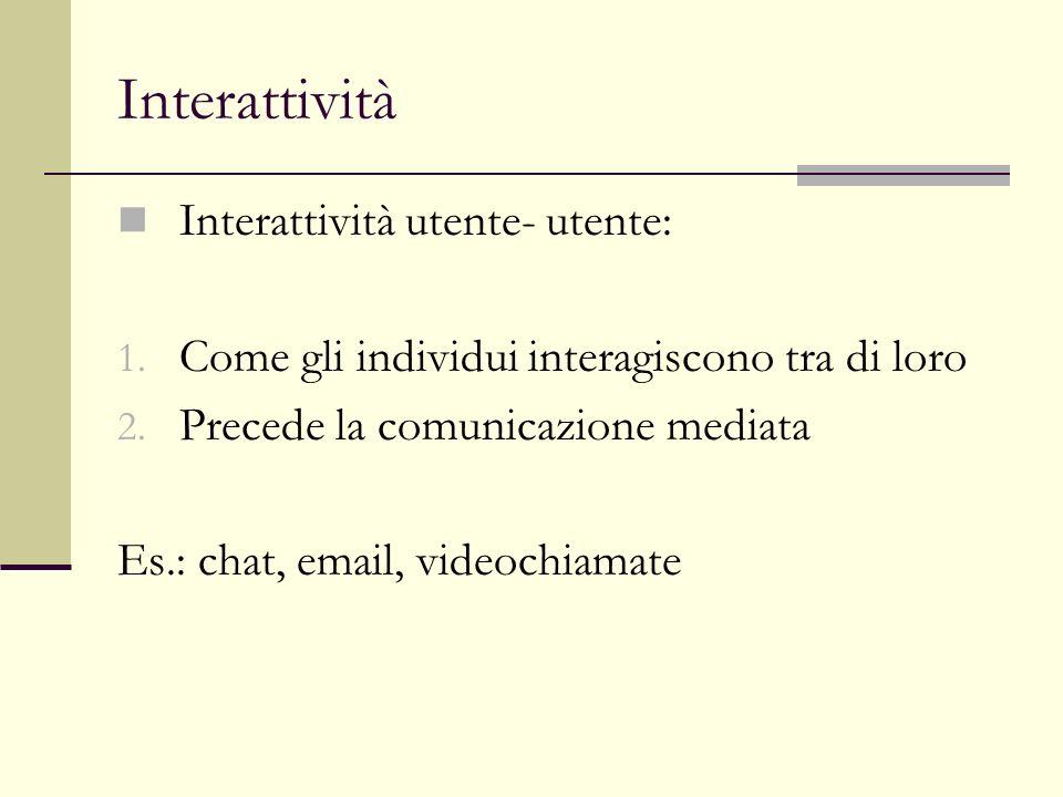 Interattività Interattività utente-documento: 1.