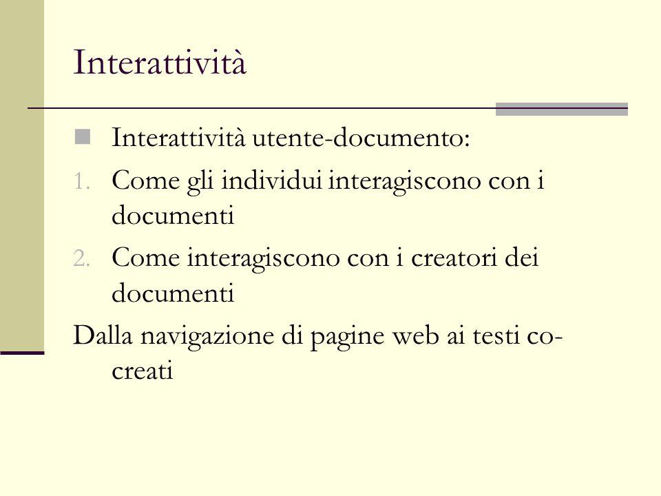Interattività Interattività utente-sistema: 1.