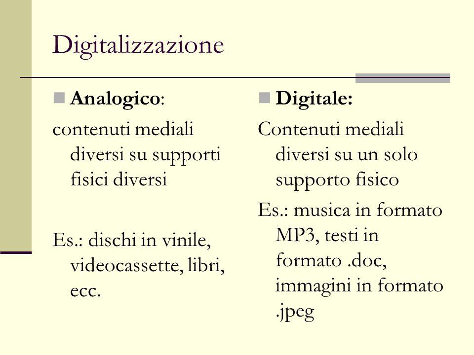 Multimedialità E una caratteristica che ha direttamente a che fare con la digitalizzazione.
