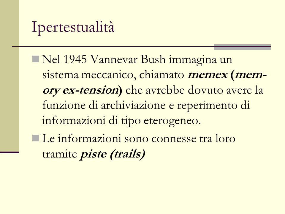 Ipertestualità Nel 1965 Ted Nelson conia i termini: 1)Ipertesto: Con ipertesto intendo scrittura non sequenziale, testo che si dirama e consente al lettore di scegliere; qualcosa che si fruisce al meglio davanti a uno schermo interattivo.