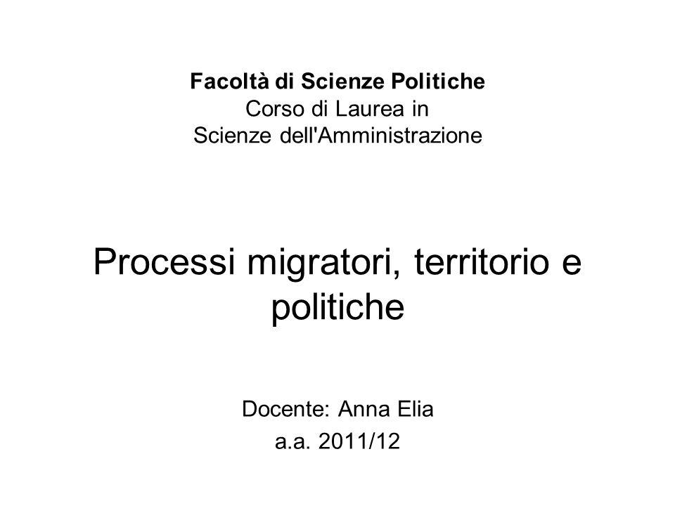 Facoltà di Scienze Politiche Facoltà di Scienze Politiche Corso di Laurea in Scienze dell'Amministrazione Processi migratori, territorio e politiche D