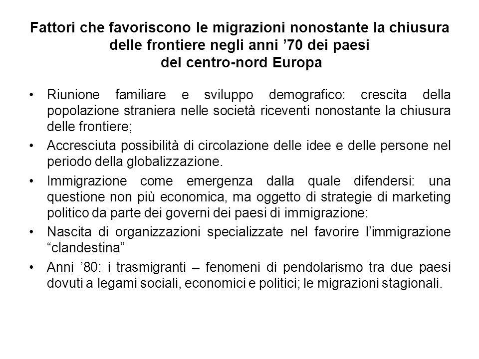 Fattori che favoriscono le migrazioni nonostante la chiusura delle frontiere negli anni 70 dei paesi del centro-nord Europa Riunione familiare e svilu